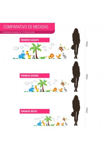 Adesivo de Parede Floresta Infantil Guia de Medidas