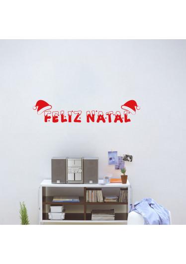 Adesivo de Parede Feliz Natal com Gorro
