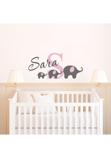 Adesivo de Parede Infantil Elefantes Como Nome Personalizado (Rosa)