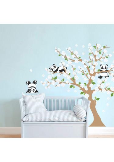 Adesivo Decorativo Infantil Árvore Pandas