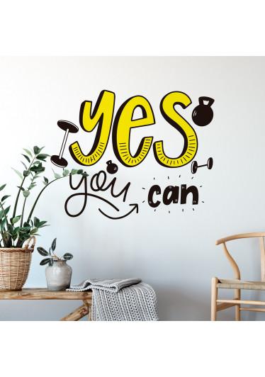 """Adesivo de Parede Frase """"Yes You Can"""""""