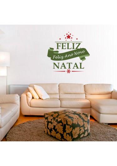Adesivo de Parede Faixa Feliz Natal e Ano Novo