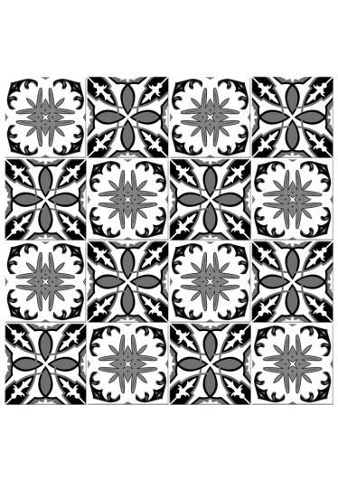 Adesivo para Azulejo Português Hidráulico Preto Branco Misto