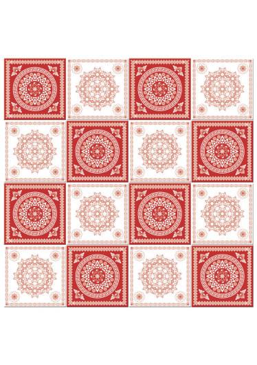 Adesivo para Azulejo Português Hidráulico Vermelho Branco Xadrez