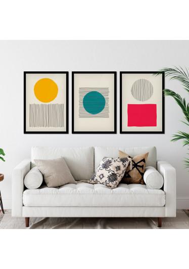 Conjunto de Quadros Decorativos Bolhas Coloridas e Linhas Geométricas