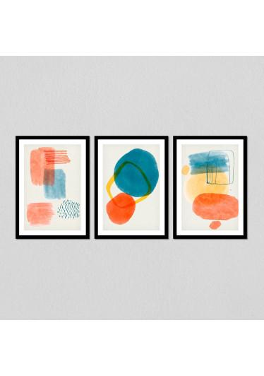 Conjunto de Quadros Decorativos Formas Abstratas Geométricas
