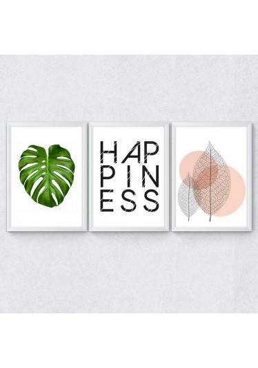 Conjunto de Quadros Decorativos Happiness Costela de Adão