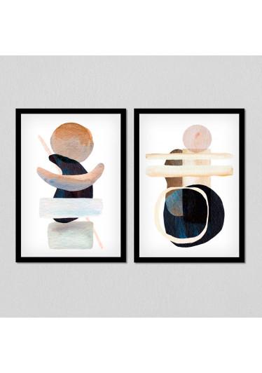 Conjunto de Quadros Decorativos Arte Abstrata