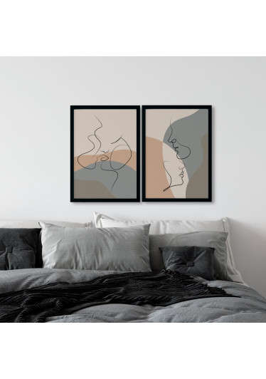 Conjunto de Quadros Decorativos Casal Arte Moderna