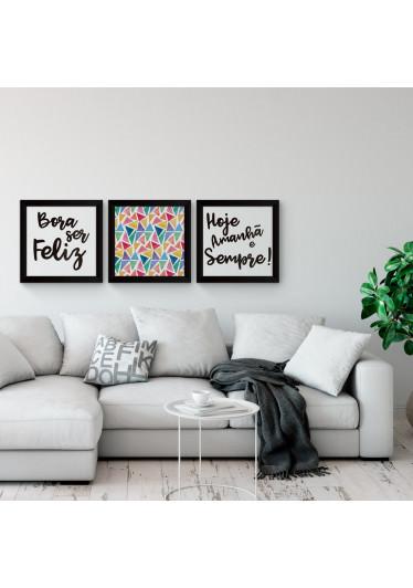 Conjunto de Quadros Decorativos Ser Feliz todo dia