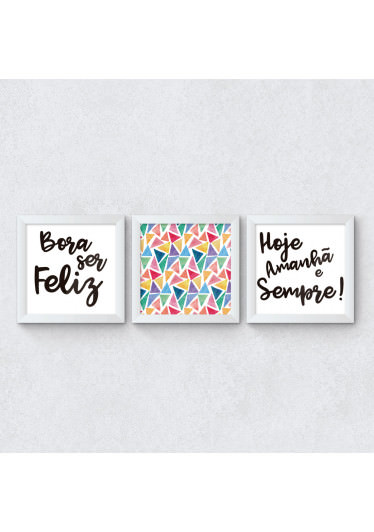 "Conjunto de Quadros Decorativos ""Bora ser Feliz"""