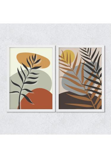 Conjunto de Quadros Decorativos Folhas em Tons Terrosos
