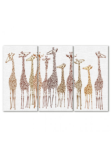 Conjunto de Quadros Decorativos Girafas - Em Canvas