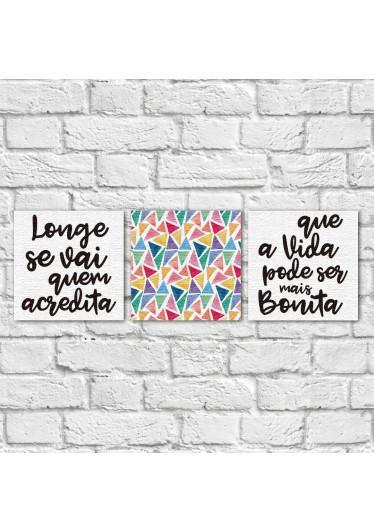 """njunto de Quadros Decorativos """"Longe se Vai"""" ( Em Canvas )"""
