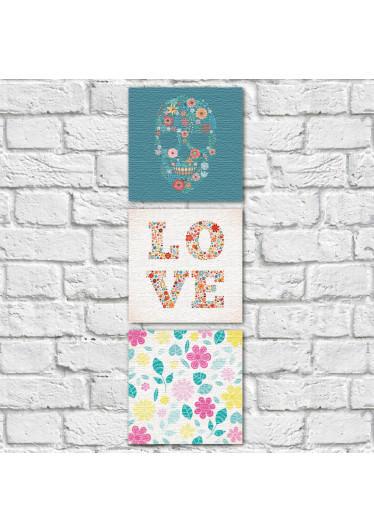 Conjunto de Quadros Decorativos Caveira Mexicana Love Vertical
