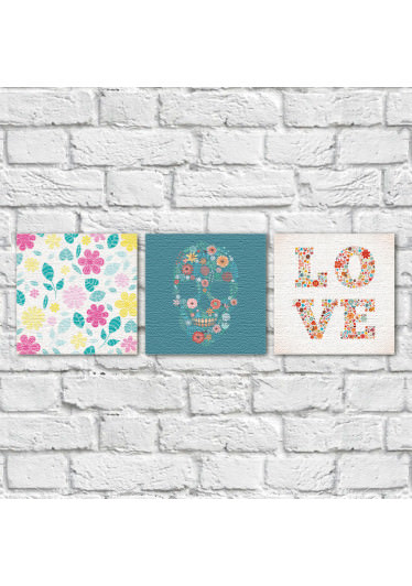 Conjunto de Quadros Decorativos Caveira Mexicana Love