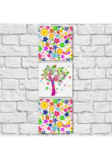 Conjunto de Quadros Decorativos Estampa Floral Árvore Abstrata Vertical