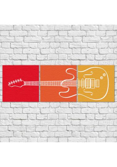 Conjunto de Quadros Decorativos Guitarra horizontal