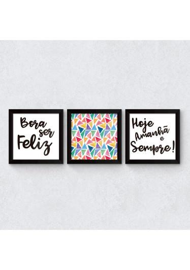 Conjunto de Quadros Decorativos Bora ser feliz sempre