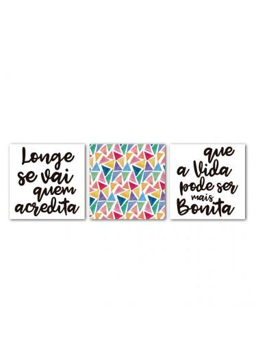 "Conjunto de Quadros Decorativos ""Longe se Vai"""