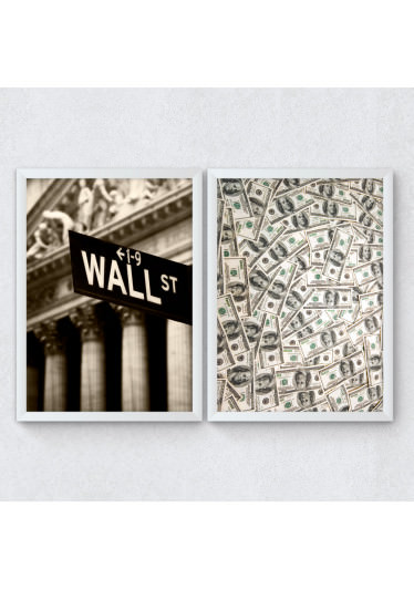 Conjunto de Quadros Decorativos Dolar Wall Street