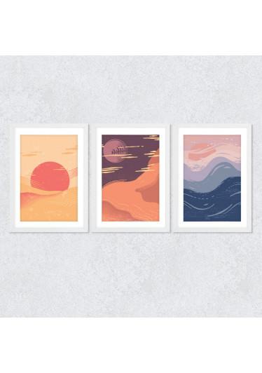 Conjunto de Quadros Decorativos Abstrato Por do Sol
