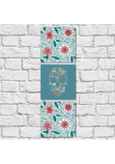 Conjunto de Quadros Decorativos Caveira Mexicana Estampa Floral Vertical