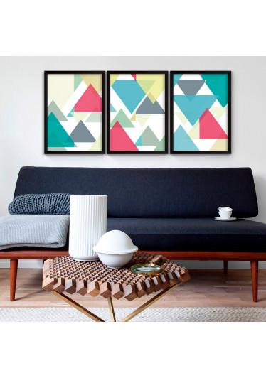 Conjunto de Quadros Decorativos Triângulos Coloridos
