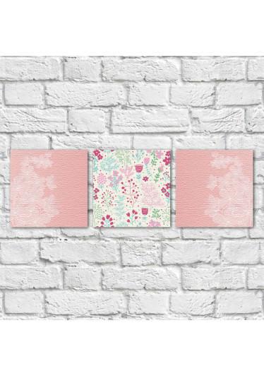 Conjunto de Quadros Decorativos Galho de Flores e Estampa Floral Vertical