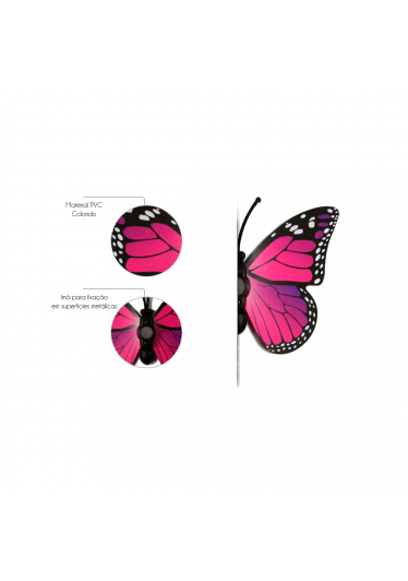 Borboletas 3D - Kit com 12 Unidades - Cor Pink