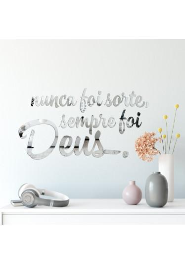 """Espelho Decorativo Frase """"Sempre foi Deus"""""""