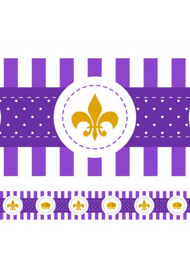 Faixa Decorativa Coroa e Flor de Lis - Lilás