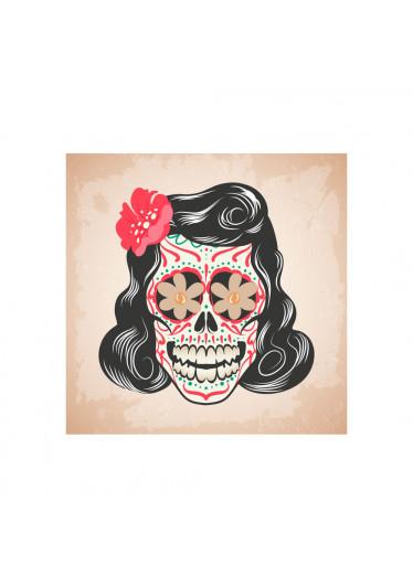 Poster Decorativo Caveira Mexicana Mulher