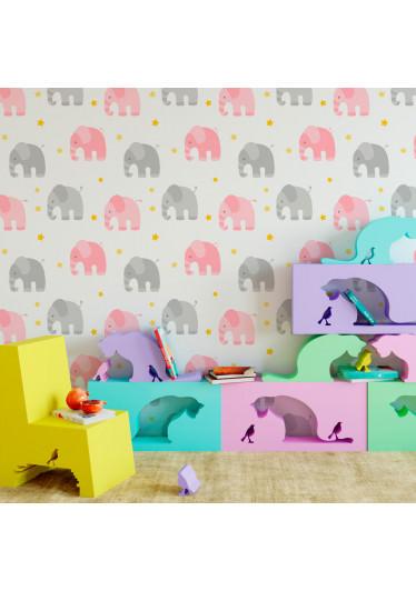 Papel de Parede Infantil Elefantes (Rosa e Cinza)