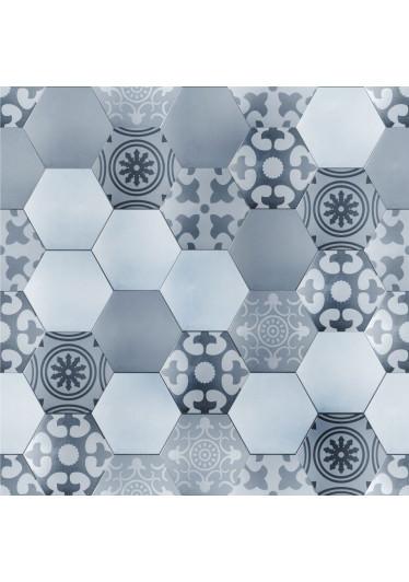 Papel de Parede Revestimento Hexagonal Azul