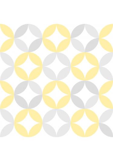 Papel de Parede Infantil Círculos (Amarelo e Cinza)