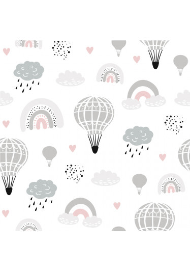 Papel de Parede Adesivo Infantil Nuvens com Arco-íris