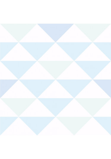 Papel De Parede Infantil Triângulos Tons de Azul e Verde