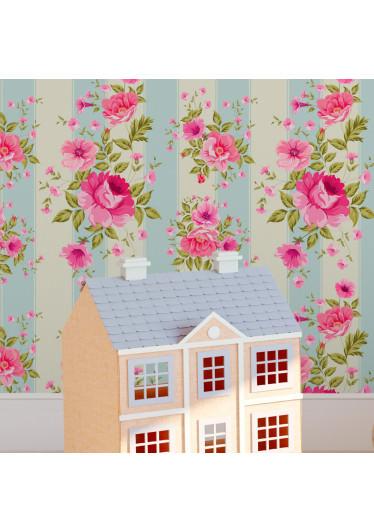 Papel de Parede Floral e Listras em tos de rosa e azul