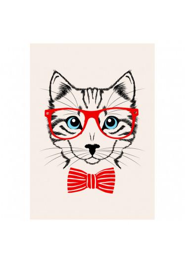 Quadro Decorativo Felino de Óculos