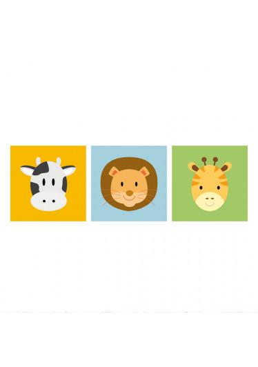 Conjunto de Quadros Decorativos Infantil Animais