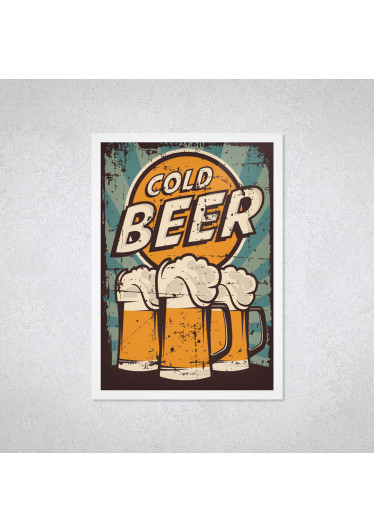 Quadro Decorativo Cold Beer Moldura Branca