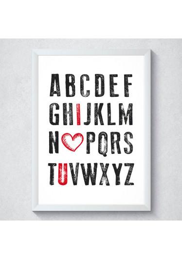 Quadro Decorativo I Love You - Alfabeto do Amor