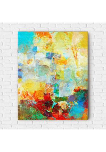 Quadro Decorativo Pintura Abstrata Pinceladas Coloridas