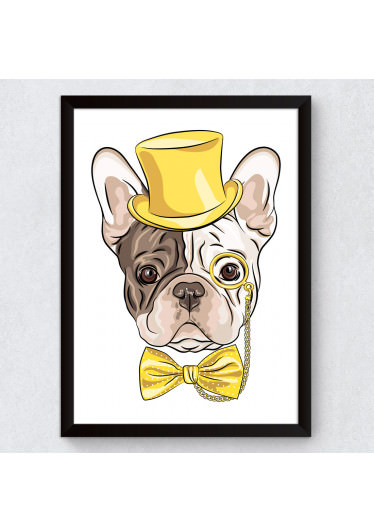 Quadro Decorativo Bulldog Francês Hipster