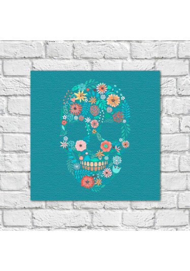 Poster Decorativo Caveira Mexicana Floral