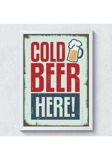 Quadro Decorativo Cold Beer Here