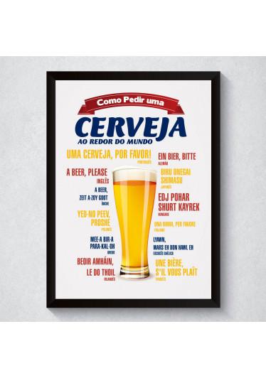 """Quadro Decorativo """"Como Pedir Uma Cerveja"""" Ao Redor do Mundo"""