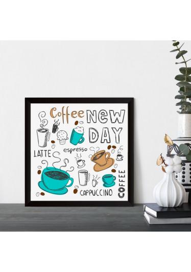 Quadrinho Decorativo New Day Coffee