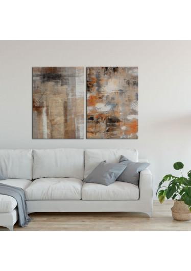 Quadro Decorativo Abstrato Tons Terrosos - Em Canvas